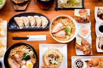 Différents plats japonais